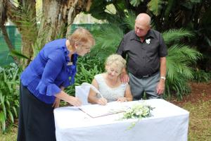 WorldMark Owners, Allan & Gail were married by Wyndham Flynns Beach Guest Services Agent, Sue