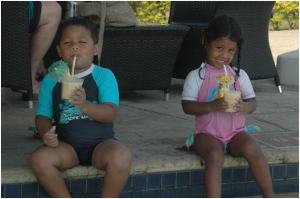 Having Tom & Jerry at the pool bar at Wyndham Denarau Island, Fiji