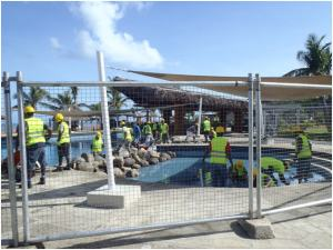 Work on the main pool.