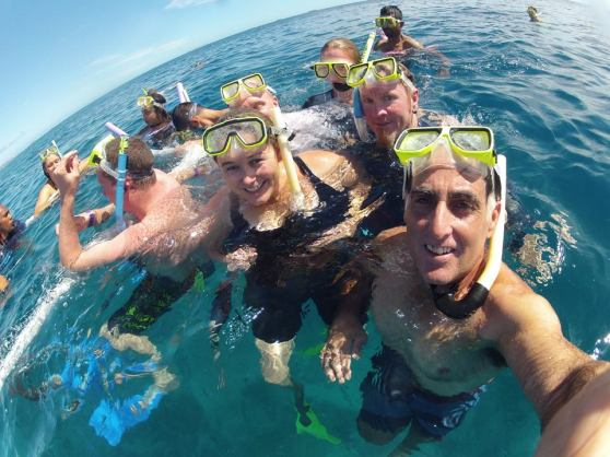 Group snorkelling in Fiji