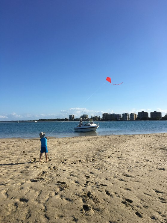Kite flying at Golden Beach, Queensland, Australia